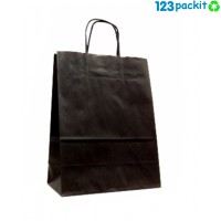 ♻ Black kraft paper bag with twist handles Size M ♻