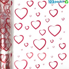 ★ Red Hearts Cellophane Wrap Roll 100mt / 320 ft ★