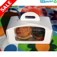 ★ White Double Cupcake box with window and tag ★