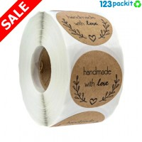 ♻ Small Kraft Paper Round Stickers Lot of 500 pcs